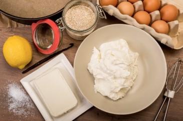 24 Jan 2014 --- Baking ingredients of cheese cake on wooden table --- Image by © Carmen Steiner/Westend61/Corbis